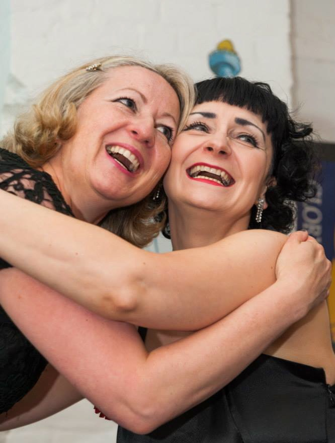 Sharon Zink and Jacqui Lofthouse hug
